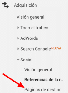 google analytics menú adquisición para seleccionar referencias de la red