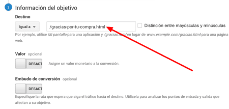 Introduce url de destino para establecer objetivo en google analytics