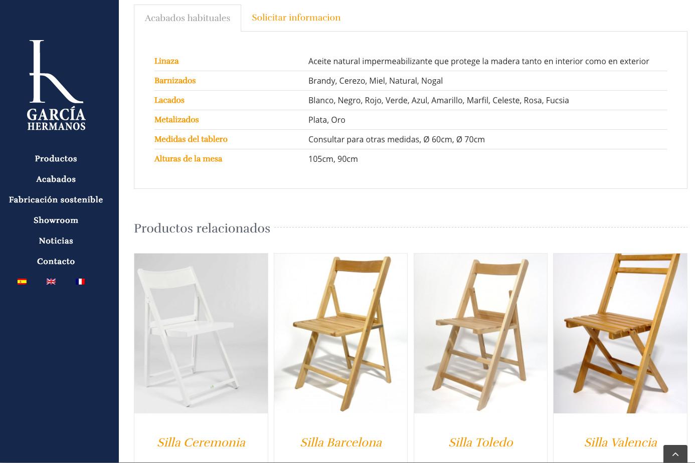 información del producto en catálogo online