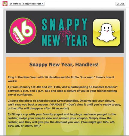 Ejemplo de uso de Snapchat para empresas - Cupones