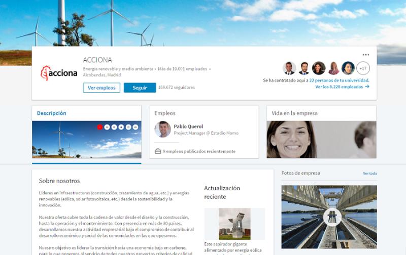 Perfil de Acciona en LinkedIn para empresas