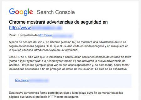 Aviso de Google contra las webs no seguras y sin certificado SSL.