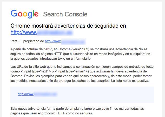 Aviso de Google que reciben las páginas que no son seguras.