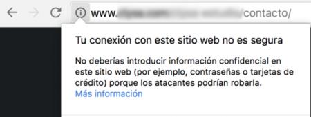 Web no segura y sin certificado SSL.